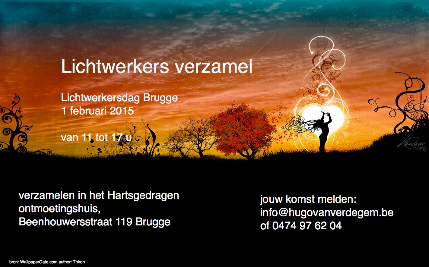Lichtwerkersdag 1 feb te Brugge. Lichtwerkers verzamel!